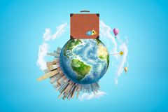 Earth with modern city popping up on one side, hot-air balloons flying in sky and huge brown travel case right on top on royalty free stock photography