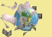 Earth and money coin and dollars stock image