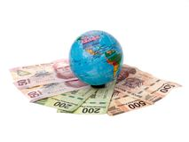 Earth on money Royalty Free Stock Image
