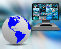 Earth and monitor Stock Photography
