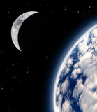 Earth and moon. Beautiful planet Earth with the moon Stock Images