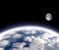 Earth and  moon. Planet earth and full moon Stock Photo