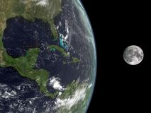 Earth and the Moon. 3d rendering of the Earth and the Moon Royalty Free Stock Photos