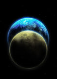 Earth and moon Royalty Free Stock Photo