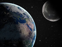 Earth with moon Stock Photos