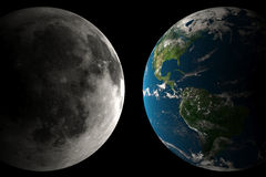 Earth and Moon. A big Earth and big Moon on a black background Stock Illustration