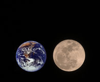 Earth and Moon. Moon and Earth on black background Stock Photos