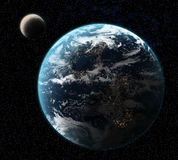 Earth with Moon. Concept of Earth and Moon with background of stars Stock Photography