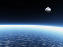 Earth and moon. Atmosphere. 3D rendered atmosphere and real moon. Earth Royalty Free Stock Photos