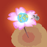 Earth and moon. Earth-flower and a bee-moon on a simple background Royalty Free Stock Images