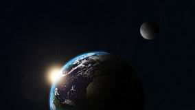 Earth and moon. Seen from space Stock Illustration