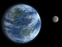 Earth and Moon. A high quality 3D render of the planet earth, and the moon Royalty Free Stock Photography