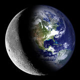 Earth and Moon Royalty Free Stock Photos