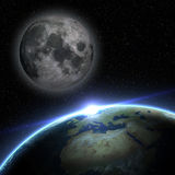 Earth and moon. In outer space with stars Royalty Free Stock Images