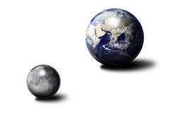 Earth and Moon. Earth ball and Moon ball Stock Photo