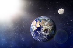 Earth and Moon Stock Photography