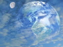 Earth and the moon. A creation of planet earth in photoshop mixed together with the moon and clouds to give this effect.  The photos used are taken or created by Royalty Free Stock Image