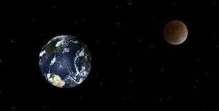 Earth and Moon. Somewhat of a design I did with the earth and the moon I shoot on Feb 20 Royalty Free Stock Image
