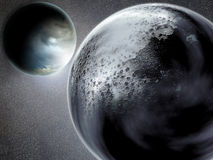 Earth and moon. Computer generated Moon and Earth planet Royalty Free Stock Image