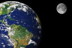 Earth and moon. In space royalty free stock photos