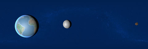 Earth, moon and asteroid, space, 2004 BL86 Royalty Free Stock Photos
