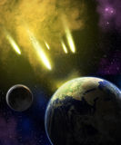 Earth, moon and asteroids Royalty Free Stock Photo