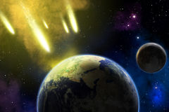 Earth, moon and asteroids. Armageddon. Earth and moon in space with a flying asteroids. Asteroid impact. Apocalypse (elements furnished by NASA Stock Photo