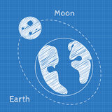 Earth and moon Blueprint grid background. Graphing paper for engineering in vector Stock Image
