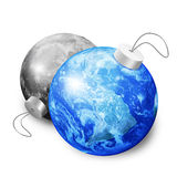 Earth and moon christmas balls Royalty Free Stock Photo