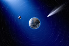 Earth, moon and comet. Abstract scientific background - planet Earth and moon in space, comet approaches planet Earth. Elements of this image furnished by NASA stock image