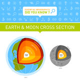 Earth and Moon Cross Section Infographic. Infographic chart with web icons displaying Earth and Moon cross sections royalty free stock images