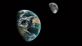 Earth and Moon. In deep space Stock Photos