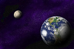 Earth and Moon in the deep universe Royalty Free Stock Image