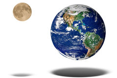 Earth and Moon floating. Isolated over a white background stock image