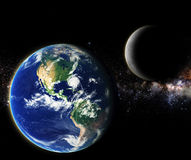 Earth and moon in galaxy space element finished by nasa Stock Images