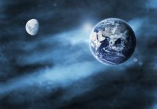 Earth and Moon Illustration Stock Photo