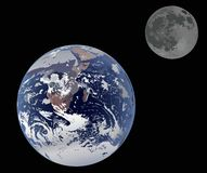 Earth and moon isolated on black stock illustration
