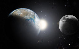 Earth and moon. The moon orbit and rotating around the planet earth Royalty Free Stock Photo
