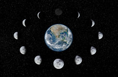 Earth and Moon phases. Phase of the moon around the Earth. Pictures was based on photo Moon and Eatrh from official NASA site Stock Photography