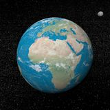 Earth and moon planets and stars - 3D render. Earth planet and moon in the universe surrounded with plenty of stars Royalty Free Stock Photography