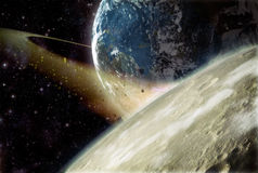 Earth and moon prehistoric. Prehistoric Earth and moon 3d background Royalty Free Stock Images