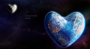 Earth and moon in the shape of heart stock illustration