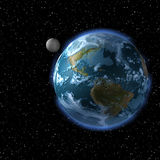 The Earth and the Moon from sp. An image from space. The Earth is in the foreground and the Moon is orbiting just beyond Royalty Free Stock Photos