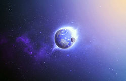 Earth and moon in space. Earth and moon in space with bright light from sun royalty free stock image