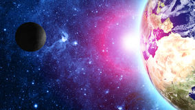 Earth and moon in space. Elements of this image furnished by NASA Royalty Free Stock Image