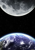 Earth and moon in space Royalty Free Stock Image
