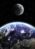 Earth and moon in space Royalty Free Stock Photos