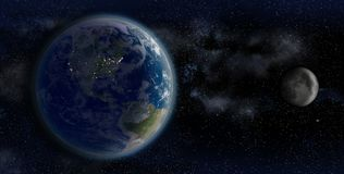 The Earth and the Moon from space on a star field backdrop. 3D Rendering of the Earth and the Moon, from space on a star field backdrop, showing the North Stock Image