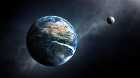 Earth and moon space view Royalty Free Stock Photos
