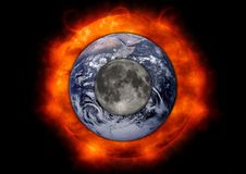 Earth Moon Sun Stock Image